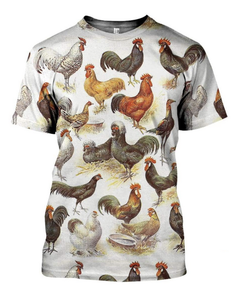 Chicken Breeds 3D Printed T-Shirt