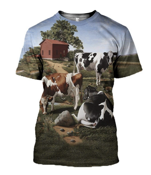 Dairy Cow Farm 3D Printed T-Shirt
