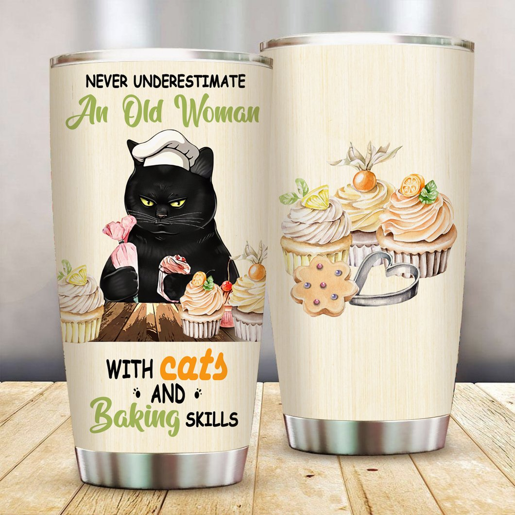 Old Woman with Cats and Baking Skills Stainless Steel Tumbler