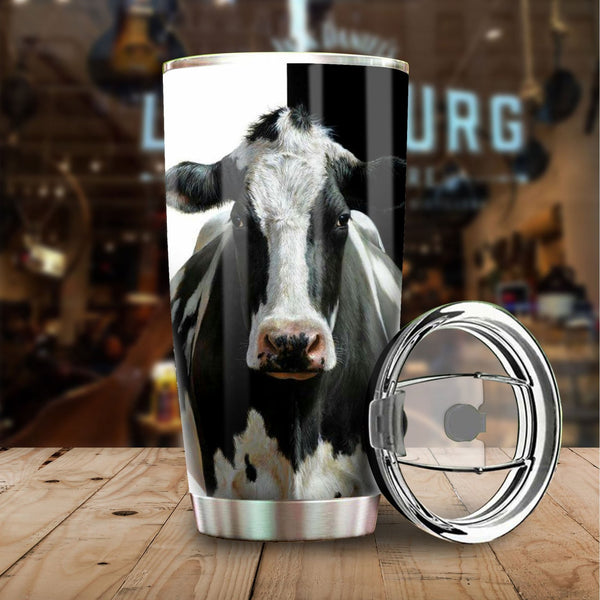 Black and White Cow Stainless Steel Tumbler