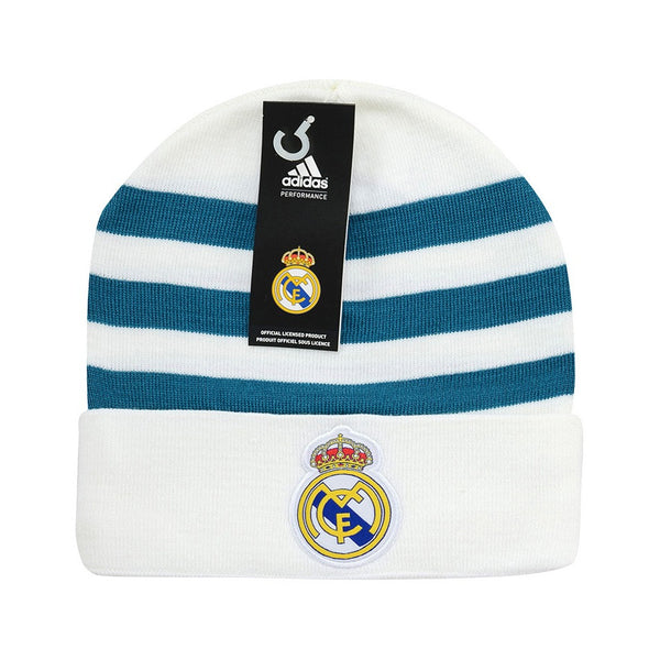 adidas Real Madrid 3S Beanie, White/Teal