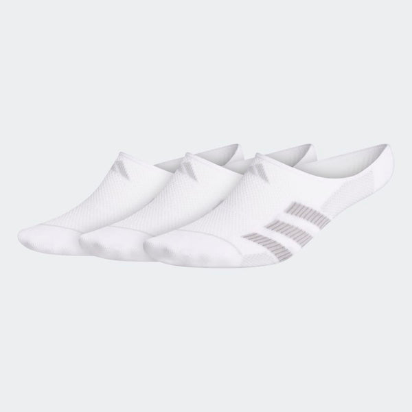 adidas Superlite Stripe II Super-No-Show Sock (3-pack), White, Size L