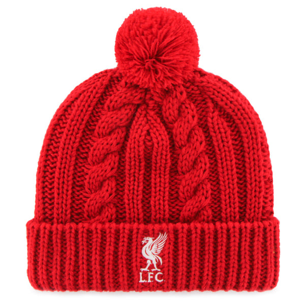 Liverpool Cable Knit Pom Beanie - Red