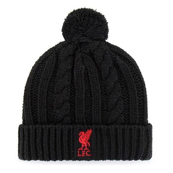 Liverpool Cable Knit Pom Beanie - Black