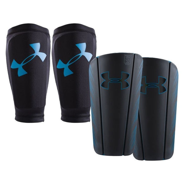 Under Armour Spine Shin Guards, Black/Blue, Size M