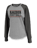Raiders Football Hi-Low Womens Crew Sweatshirt Athletic Heather/Black - choice of design