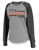 Raiders Hi-Low Womens Crew Sweatshirt Athletic Heather/Black  in Black - choice of design