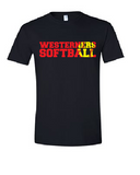 Westerners Softball Unisex Tee in Black - your choice of design