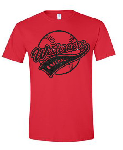 Westerners Softball Unisex Tee in red - your choice of design