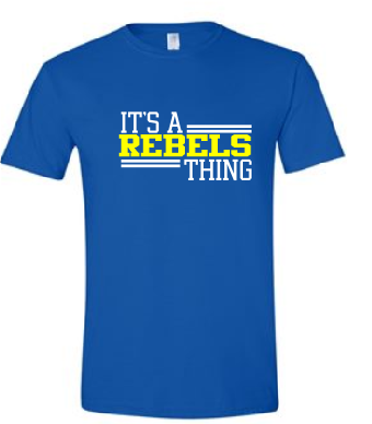 Rebels Unisex Tee in Royal - choice of design