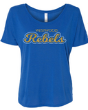 Rebels Bella+Canvas Womens Slouchy Tee in Royal - your choice of design