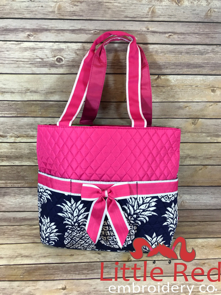 Hot Pink/Navy Pineapple Print Quilted Diaper Bag