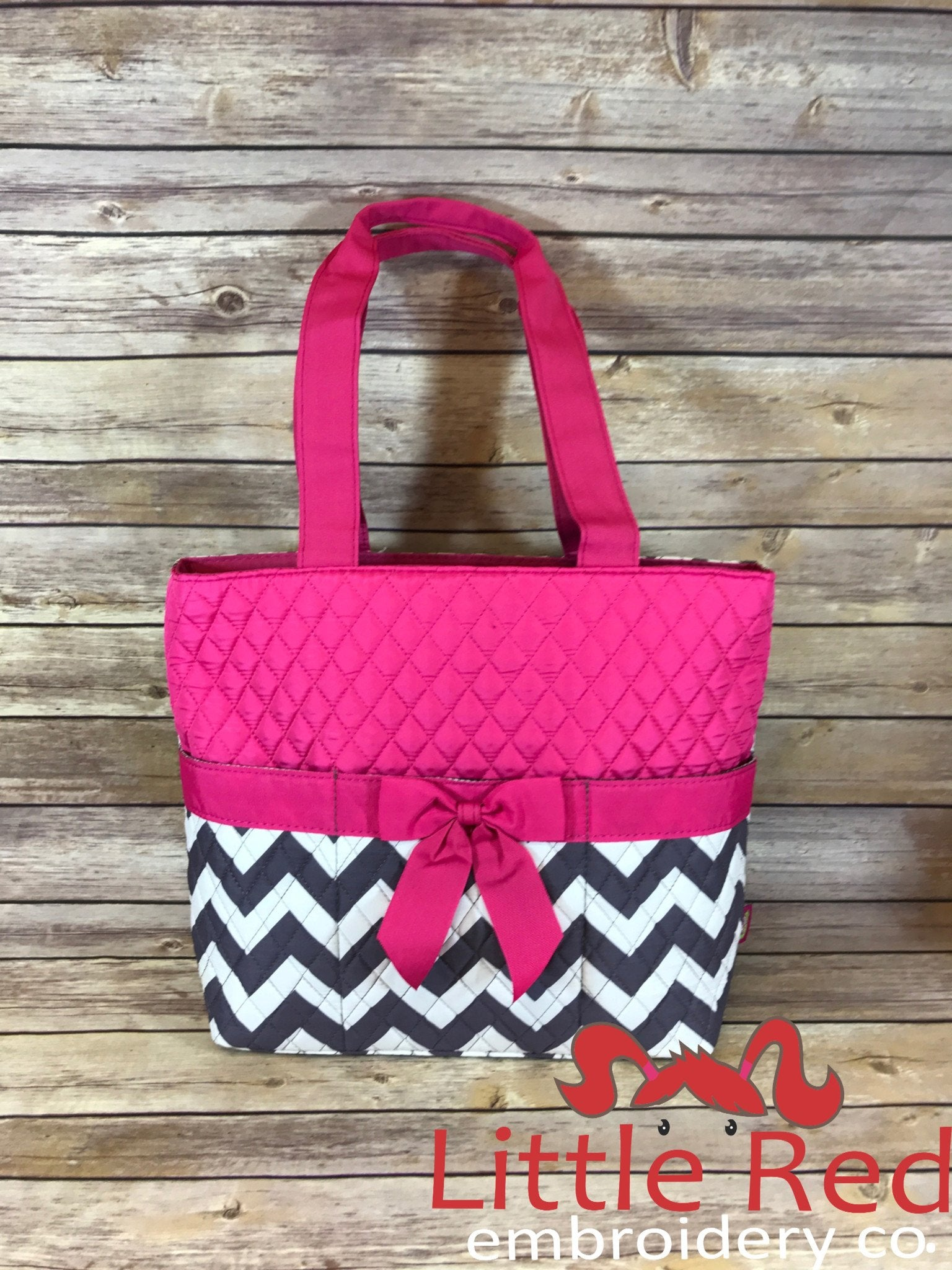Hot Pink/Grey & White Chevron Print Quilted Diaper Bag