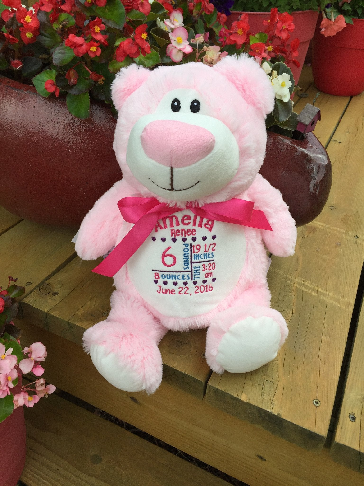 Cubbies™ Pink Bear Stuffie with Custom Embroidery