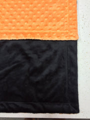 Black Minky Smooth & Orange Minky Dot Blanket