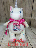Cubbies™ Signature Collection White Polka Dot Unicorn Stuffie with Custom Embroidery