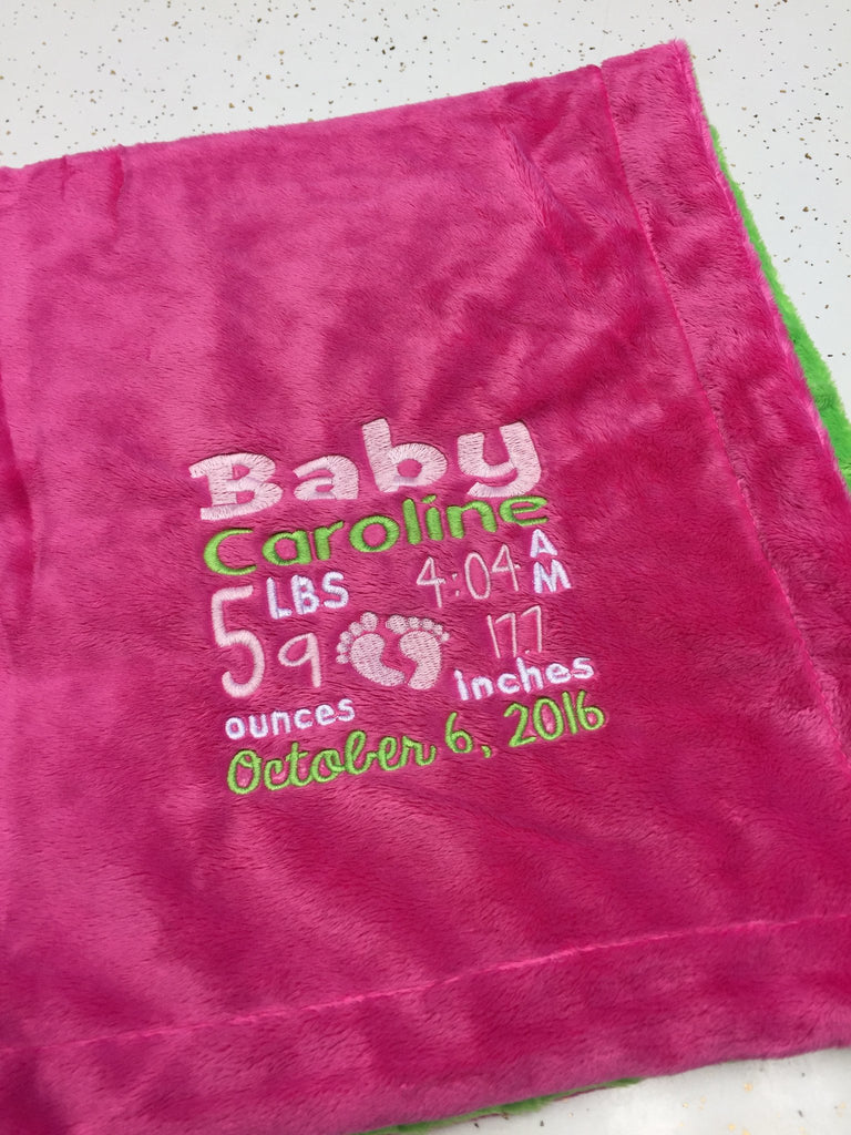 Hot Pink Minky Smooth & Apple Green Minky Dot Blanket