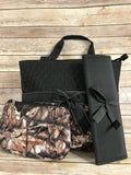 Black & Camo Quilted Diaper Bag