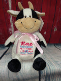 Embroider Buddy Cow Stuffie with Custom Embroidery