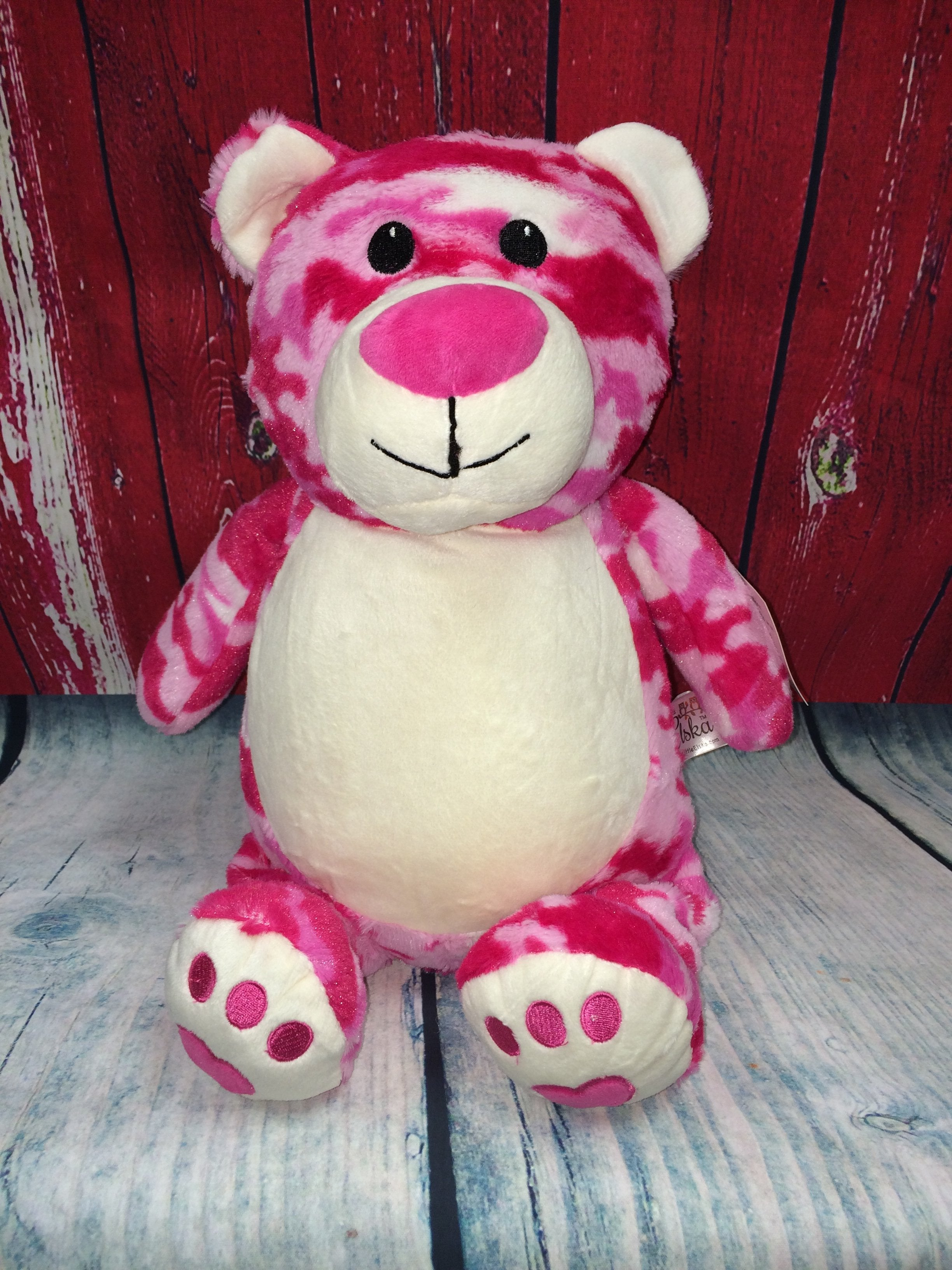 Pink Camouflage Bear Stuffie with Custom Embroidery