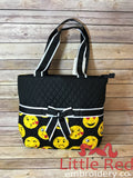 Black/Emoji Print Quilted Diaper Bag
