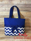 Royal/Royal & White Chevron Quilted Diaper Bag