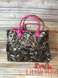 Hot Pink & Camo Large Shoulder Tote Bag