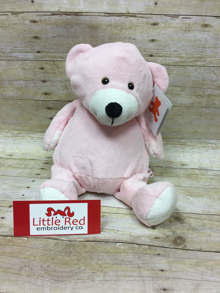 Embroider Buddy Pink Bear Stuffie with Custom Embroidery