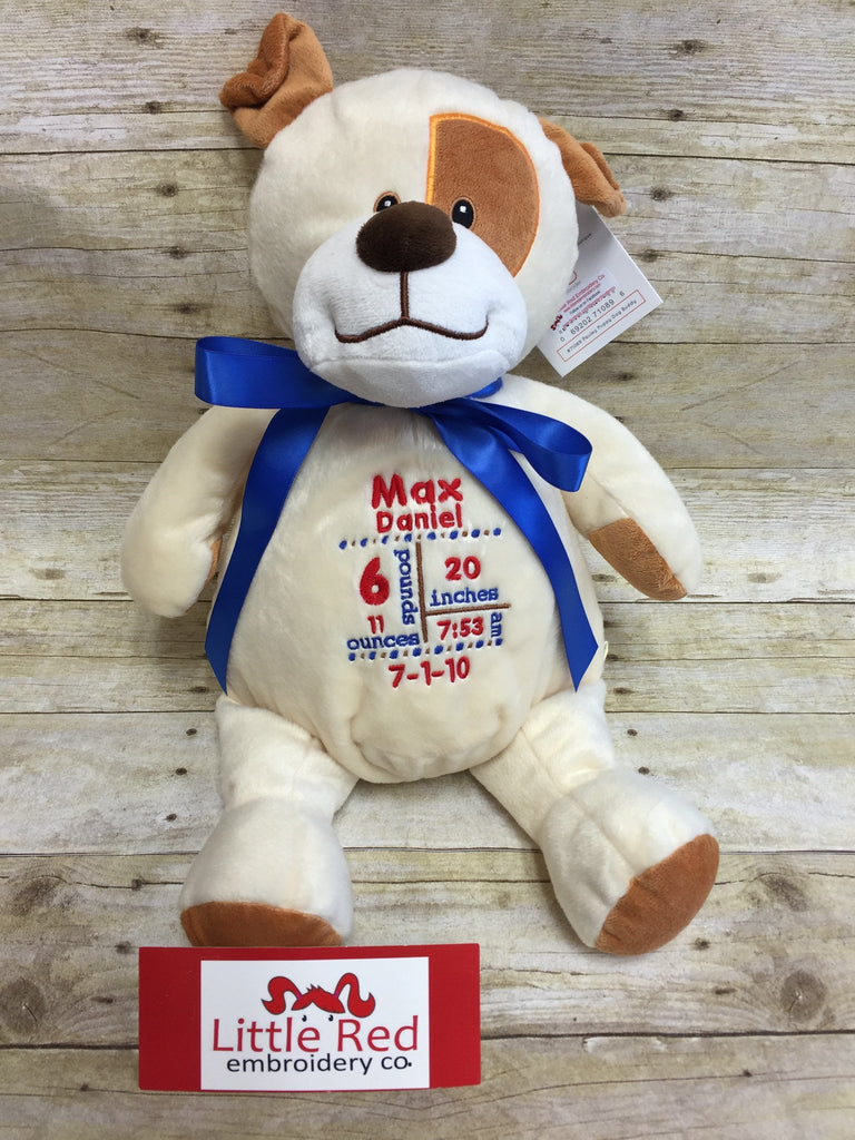 Embroider Buddy Pauley Puppy Stuffie with Custom Embroidery