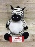 Embroider Buddy Zebra Stuffie with Custom Embroidery