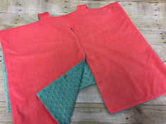 Super soft minky car seat canopy cover - coral pink/mint green can be personalized with baby's name!
