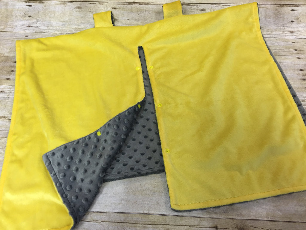 Super soft minky car seat canopy cover - bright yellow/grey can be personalized with baby's name!
