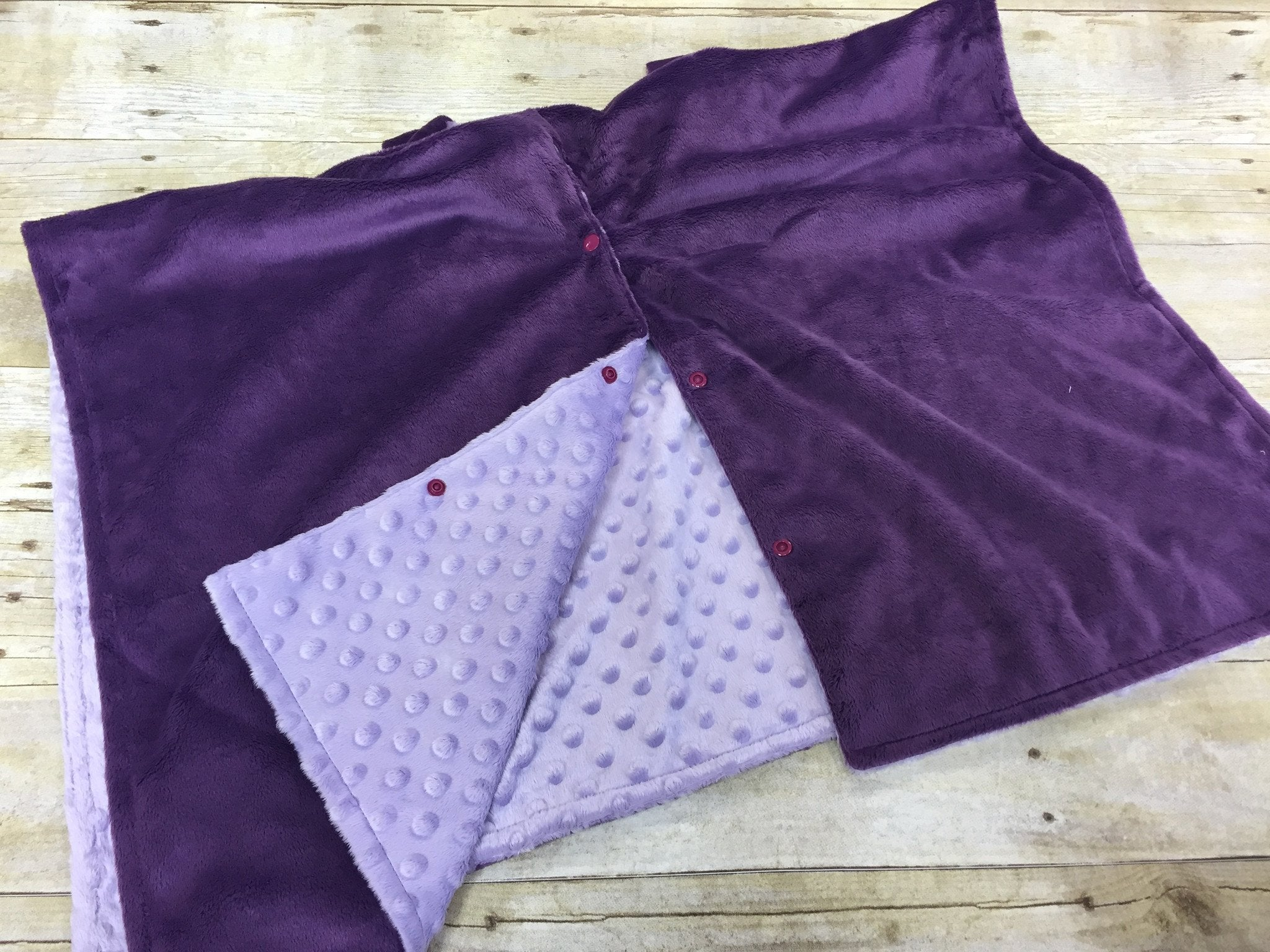 Super soft minky car seat canopy cover - dark purple/light purple can be personalized with baby's name!