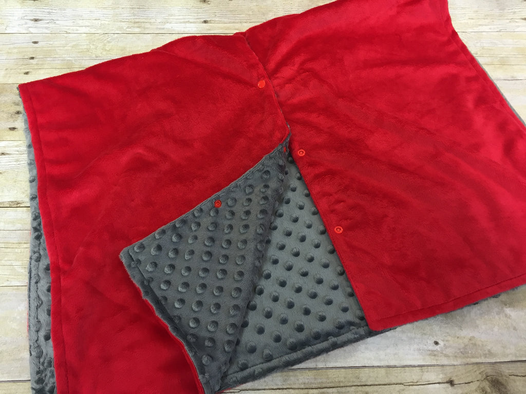 Super soft minky car seat canopy cover - red/grey can be personalized with baby's name!