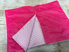 Super soft minky car seat canopy cover - hot pink/light pink can be personalized with baby's name!