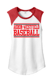 Westerners Baseball Womens Sleeveless Baseball Tee in White/Red - choice of design