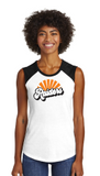 Raiders Womens Sleeveless Baseball Tee in White/Black - choice of design