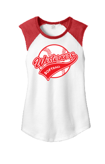 Westerners Softball Ladies Sleeveless Baseball Tee in White/Red - choice of design