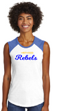 Westwood Rebels Womens Sleeveless Baseball Tee in White/Royal - choice of design