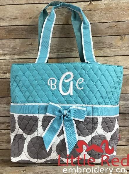 Aqua/Grey Dots Diaper Bag