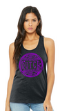 Dutch Softball Womens Bella+Canvas Jersey Racerback Tank Top in Dark Grey - your choice of design