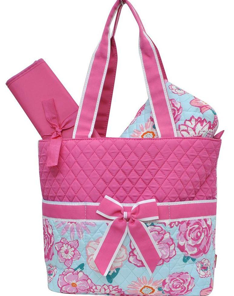 Hot Pink and Rose Print Diaper Bag