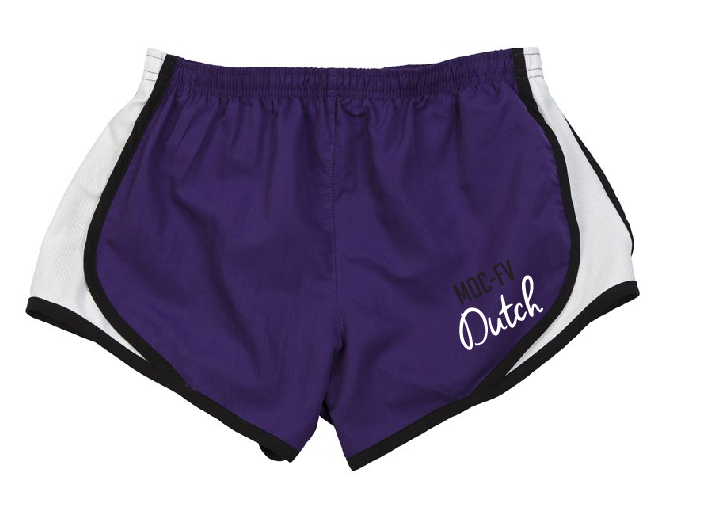 Dutch Womens & Girls Boxercraft Running Shorts in Purple/White/Black