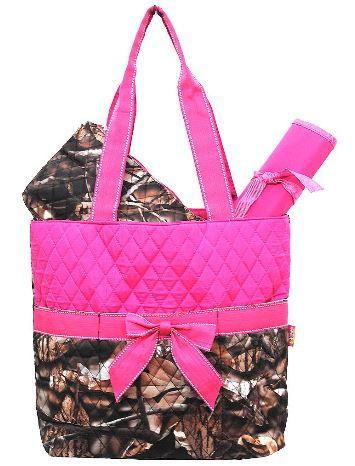 Hot Pink & Camo Quilted Diaper Bag