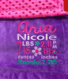 Purple Minky Smooth & Hot Pink Minky Dot Blanket