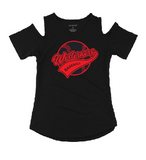 Westerners Baseball Womens Cold Shoulder Tee in Black - choice of design