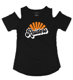 Raiders Womens Cold Shoulder Tee in Black - choice of design
