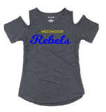 Rebels Womens Cold Shoulder Tee in Granite - choice of design