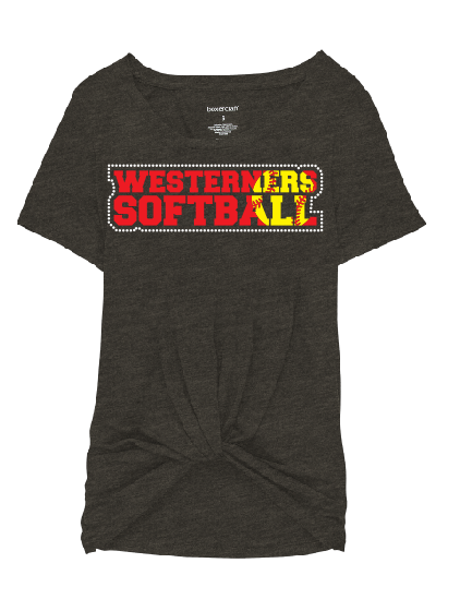 Westerners Softball Womens Boxercraft Twisted Tee in Charcoal - choice of design