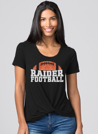 Raiders Football Womens Boxercraft Twisted Tee in Black - choice of design